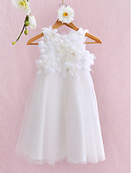 LAN TING BRIDE Ball Gown Knee-length Flower Girl Dress - Tulle Jewel with Flower(s)