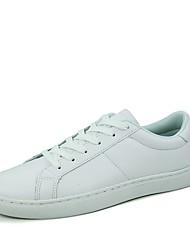 Herren-Flache Schuhe-Lässig-Leder-Flacher Absatz-Komfort-Schwarz Weiß Schwarz und Weiss