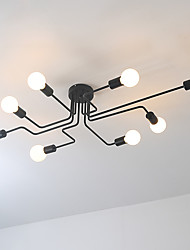 Wrought iron 8 heads Multiple rod ceiling dome lamp creative personality retro nostalgia cafe bar ceiling light
