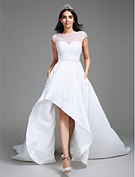 Lanting Bride® Ball Gown Wedding Dress Asymmetrical Sweetheart Taffeta with Lace / Pearl / Sequin