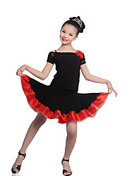 Children's Performance Crepe / Lace / Linen Lace 2 Pieces Short Sleeve Natural Top / Skirt Latin Dance Outfits