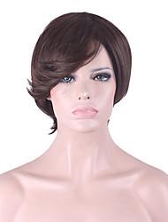 más vendido de Europa y los Estados Unidos una peluca peluca de pelo corto de color marrón oscuro 4 pulgadas