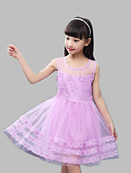 A-line Knee-length Flower Girl Dress - Satin / Tulle Sleeveless Jewel with Appliques / Flower(s)