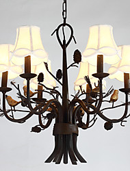 6 Heads Branch Bird with Pine cones Resin Chandelier Lamp Fit fot the Hotel / Coffee Room Decorate Chandelier Light
