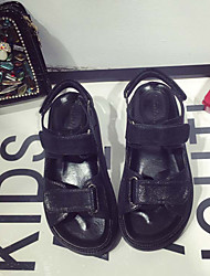 Women's Sandals Summer Fall Gladiator Microfibre Casual Flat Heel Hook & Loop Black Silver