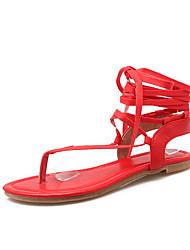 Women's Shoes Flat Heel Flip Flops / Gladiator / Round Toe / Open Toe Sandals Outdoor / Dress / Casual Black / Red