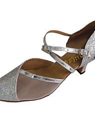 Chaussures de danse(Argent) -Personnalisables-Talon Personnalisé-Paillette Brillante-Latine / Moderne