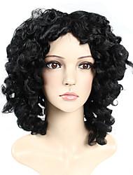 senhoras moda onda perucas sintéticas cor # 1 onda encaracolado perucas sintéticas