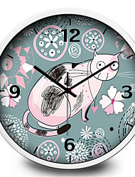 Cute Cartoon Cat Clear Children Study Bedroom Wall Clock