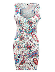 Women's Casual/Daily Boho Racerback Fashion Over Hip Sheath Dress,Print U Neck Mini Sleeveless