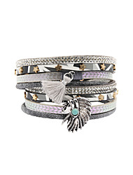 Fashion Women 4 Rows Stone Set Egyptian Beauty Head Wrap Leather Bracelet