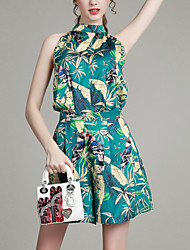 Women's Going out Street chic Summer Set,Print Stand Sleeveless Green Cotton Thin