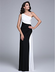 Formal Evening Dress Sheath / Column One Shoulder Floor-length Jersey with Side Draping