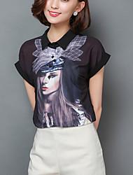 Women's Portrait Print  Black Shirt,Work / Casual Cute Shirt Collar Short Sleeve Fashion Loose Thin Polyester