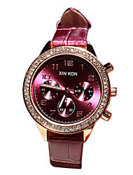 Women's Fashion Watch Japanese Quartz Casual Watch Leather Band White Pink Purple Brand