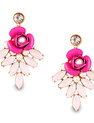 Lovely Personality Pearl Flower Rose Bohemian Beach Style Earrings