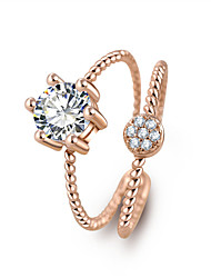 Classical Shiny Crystal Twisted Lines Zircon Rings