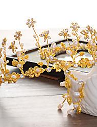 Bride's  Flower Shape Rhinestone Pearl Wedding Decorations Jewelry Set Including Crown , Earrings
