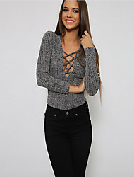 Women's Solid Black / Gray Cardigan,Simple / Street chic Long Sleeve