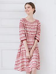 Women's Vintage Print Loose Dress,Round Neck Knee-length Cotton