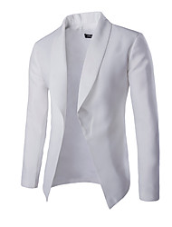 Men's Solid Work / Formal Blazer,Cotton Long Sleeve Black / White