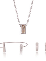 Silver Sweet Style Full Crystal Cuff Bangle & Stud Earrings & Pendant Necklace Jewelry Set