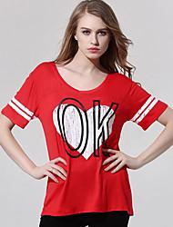 Damen Druck Einfach / Street Schick Ausgehen T-shirt,Rundhalsausschnitt Sommer Kurzarm Rot Polyester Mittel