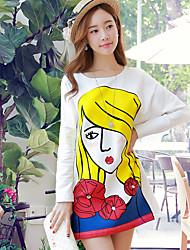 Rosa Doll® Damen Rundhalsausschnitt Lange Ärmel T-Shirt Weiß-X14CTS235