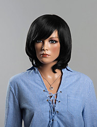 Modern Black Wavy Shoulder Length Human Hair wigs