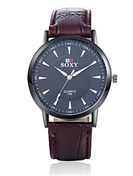 SOXY® Men's  Black/Brown Leather Band White/Black Case Analog Quartz Dress Watch(NO Water Ressistant)