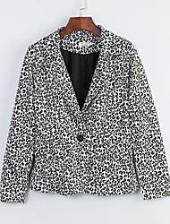 Blazer Aux femmes,Léopard Printemps Manches Longues Col de Chemise Multi-couleur Coton Moyen