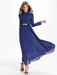 Women's Formal / Party/Cocktail Simple Chiffon / Swing Dress,Solid Shirt Collar Maxi Long Sleeve Blue Polyester