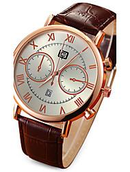 Men's Calendar White/Black Case Black/Coffee Leather Band  Dress Wrist Watch Fashion Watch
