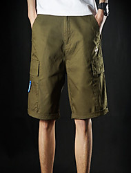 Masculino Shorts Casual Cor Solida / Letra Poliéster Preto / Azul / Verde
