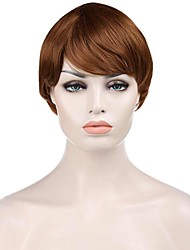 Natural Short Brown Color Popular Straight Synthetic Wig For Woman