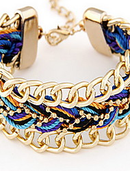 Golden Alloy Fabric Weave Chain Bracelet