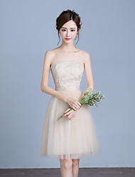 Knee-length Lace / Satin / Tulle Bridesmaid Dress A-line Strapless with Lace