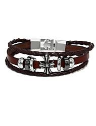Punk Fashion Men's Bracelet Bronze Pu Leather Easy Hook Bracelet Alloy Bracelet Chain Bracelets (Random)