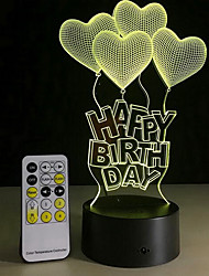 Creative Happy Birthday Touch Switch 3D LED Colorful Night Light With Remote Control