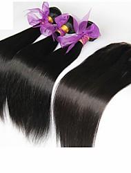3 пучки камбоджийской девственницы волосы прямо с закрытием необработанного человеческих волос Weave с Free / средний / 3 часть затворы