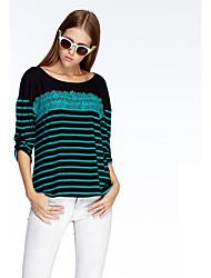 heartsoul женщин выходить простой летний футболку, в полоску вокруг шеи ¾ рукав розовый / красный / зеленый полиэстер тонкий