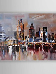 Oil Painting Buildings Hand Painted Canvas with Stretched Framed Ready to Hang