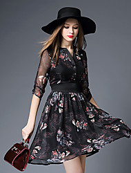 BOMOVO® Damen V-Ausschnitt 1/2 Ärmel Knielänge Kleid-B16XQ3E