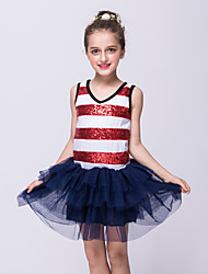 Girl's Casual/Daily Striped Dress,Polyester Summer Red