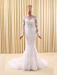 Trumpet / Mermaid Wedding Dress Court Train Jewel Lace / Tulle with Appliques / Lace