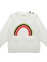 Girl's Casual/Daily Embroidered Sweater & Cardigan,Cotton Winter / Fall White