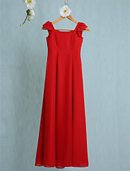 LAN TING BRIDE Floor-length Chiffon Junior Bridesmaid Dress Sheath / Column Scoop Natural with Pleats