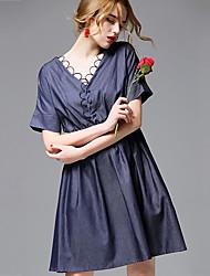 AFOLD® Women's V Neck Short Sleeve Knee-length Dress-5689