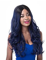 voga europeu longa sythetic mistura do preto escuro peruca partido onda azul para as mulheres