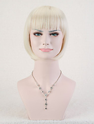 Capless Blonde Color High Quality Short Straight Synthetic Wig